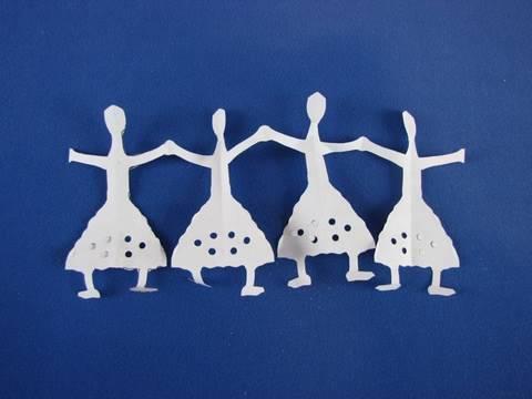 Bamboline di carta How to Make paper dolls (kirigami)
