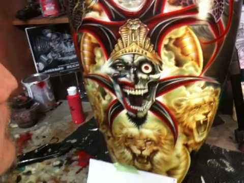 The original airbrush art of Jaime Rodriguez. Airbrushing art on motorcyle tank.