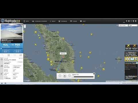 Malaysian Airlines Flight MH 370 on Flight Radar Playback.