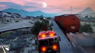 GTA 5 train crashes episode one (fire truck vs train)