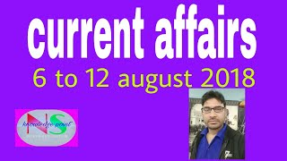 important current affairs 6 to 12 august 2018|ns current affairs