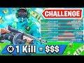 1 Elimination = RENT MONEY (Fortnite Challenge)
