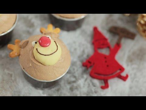トナカイのチョコクリームカップケーキ