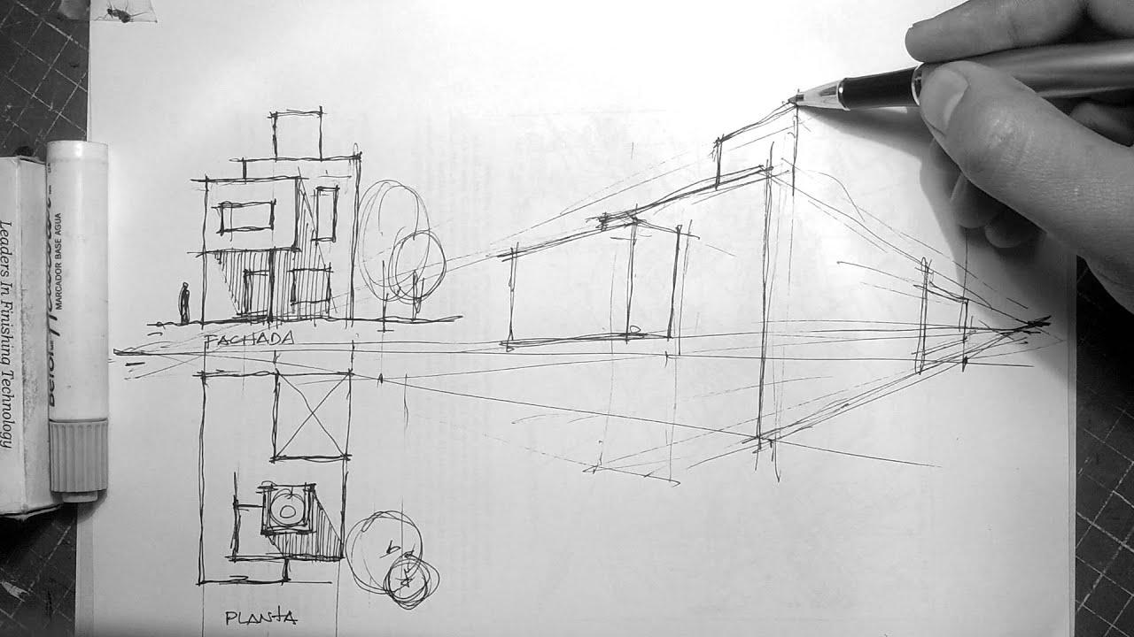 Dibujando a mano alzada planta fachada y perspectiva for Dibujar planos de casas