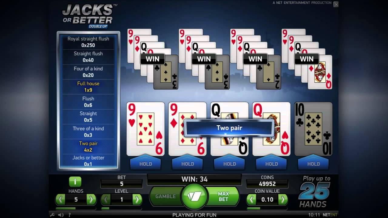 Видео покер игровой автомат Jacks or Better Double Up - Video Poker - NetEnt