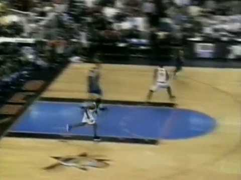 Allen Iverson tries to go fancy with a tomahawk on the fast break and ends up missing a wide open dunk. May 13, 1999.