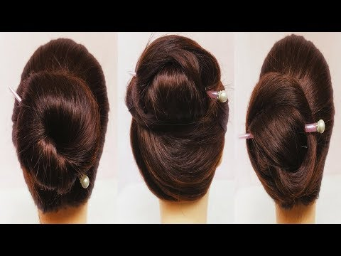 3 easy and awesome juda hairstyle with bun stick || hairstyle with chinese bun stick || chignon bun