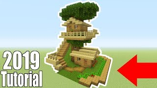 """Minecraft Tutorial: How To Make A Ultimate Starter Wooden Treehouse """"2019 Tutorial"""""""