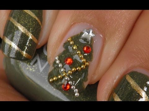 Christmas nail art tutorial:Christmas tree