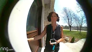 Unknown stranger caught trying to open our door with Ring doorbell
