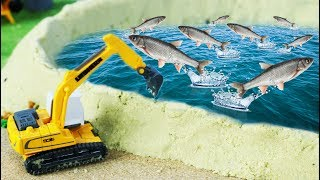 Toys excavator digging pond for feed fish | Construction vehicles for kids