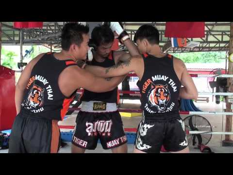 Tiger Muay Thai Techniques: Defend hook punch followed by upwards elbow strike Image 1