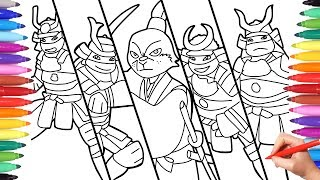 Ninja Turtles Samurai Coloring Pages for Kids, How to Draw TMNT with Samurai Costumes, TMNT Coloring