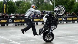 Chris Pfeiffer stunt world champion, wet show wheelie, stoppie