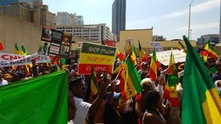 Ethiopians protest in front of CNN studio Atlanta, GA