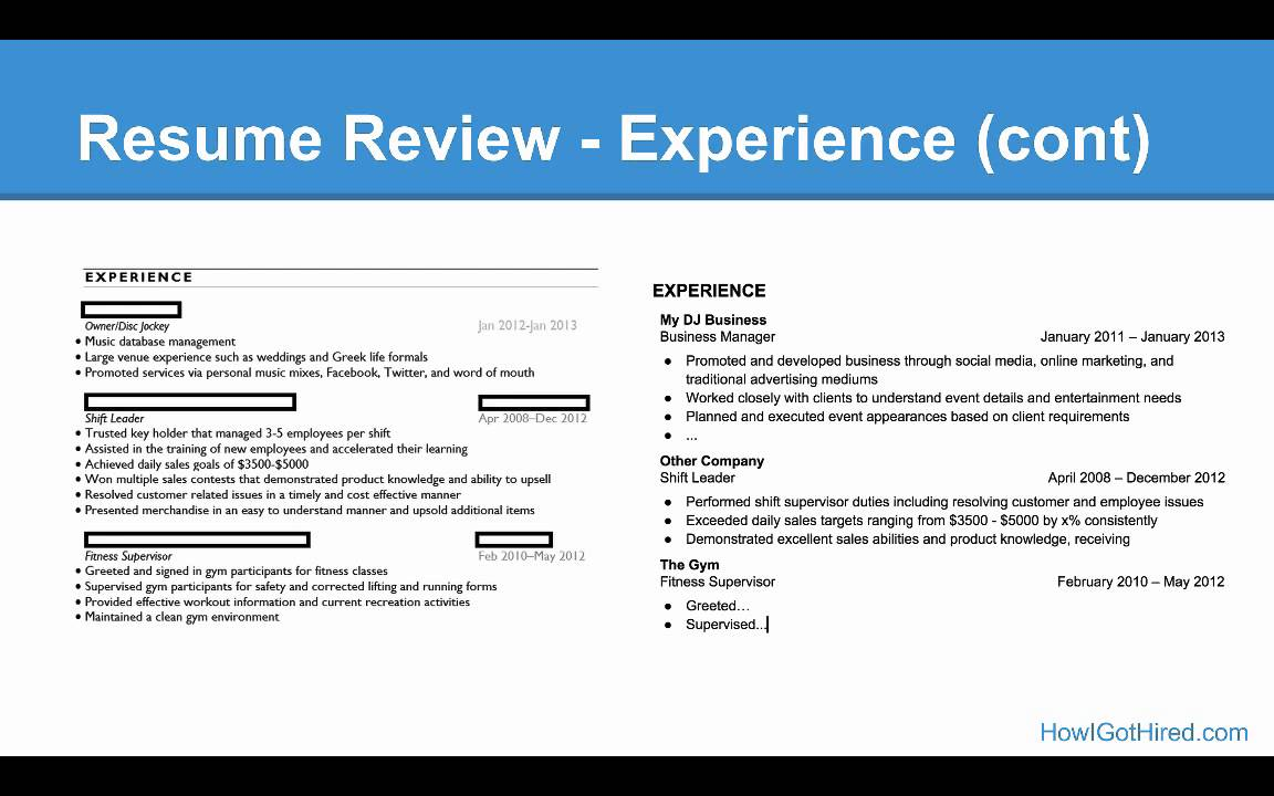 Examples Of Youtube  Minute Resume Videos