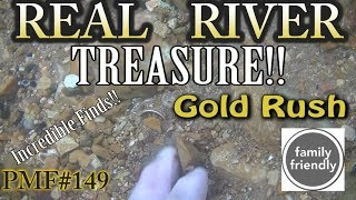PMF#149 REAL River TREASURE FOUND - STRANGE BAG & Gold Rings Underwater Metal Detecting 2018
