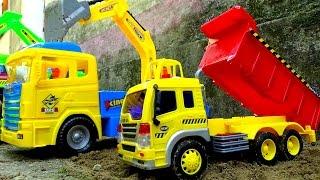 Dump truck excavator toy Xe tải máy xúc đồ chơi by giai tri cho be yeu