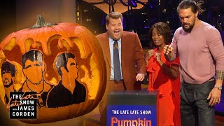 Jason Momoa SMASHES Pumpkin Carving Contest w/ Brass Knuckles