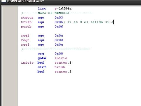 programar pic 1-4 (encender y apagar los led's del PORTB)