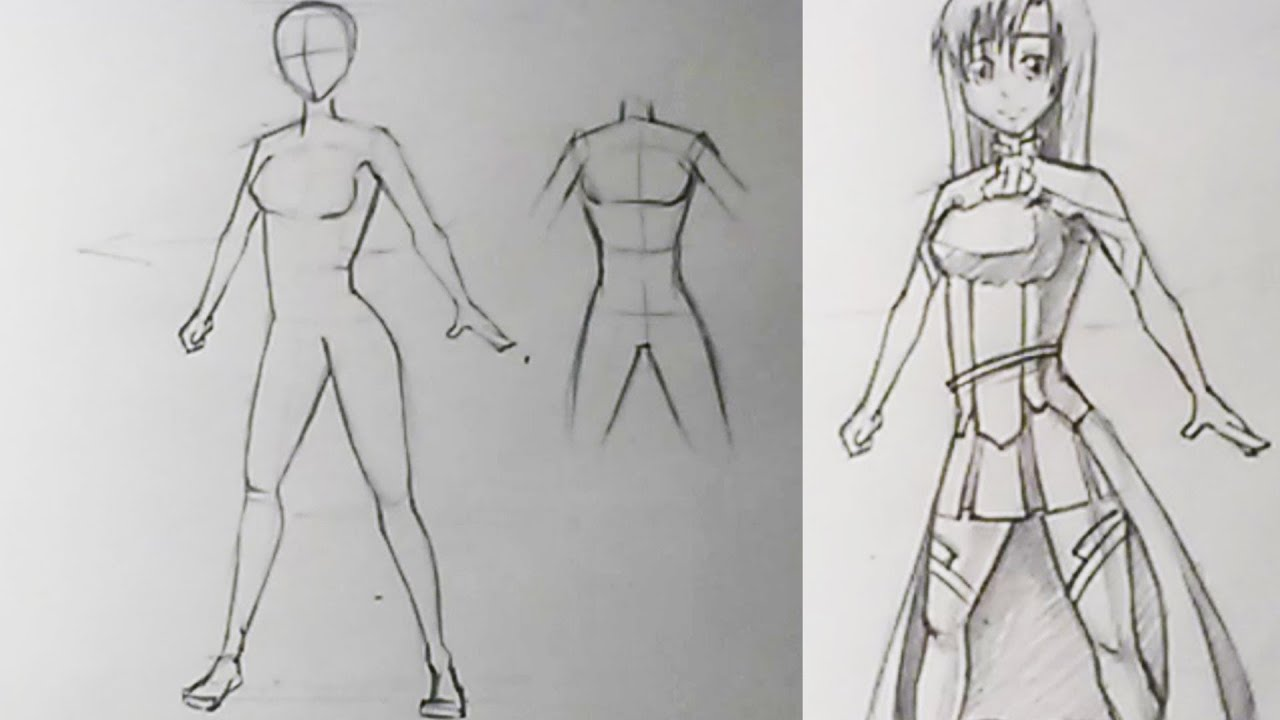 как рисовать аниме карандашом тело: