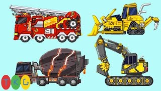 Lắp ráp Xe Xúc Đất, Máy Ủi Đất, Xe Cứu Hỏa, Xe Trộn Bê Tông | TopKidsGames