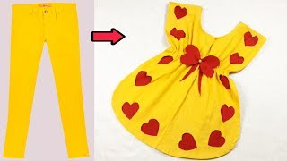 Easy way to turn old trousers into a beautiful dress