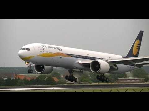 [FULL HD] JET AIRWAYS 777-300 IMPRESSIVE LANDING BRUSSELS ZAVENTEM INT'L AIRPORT RW25L
