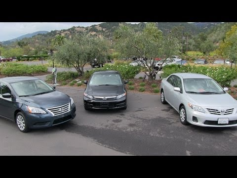 2013 Nissan Sentra vs Honda Civic vs Toyota Corolla 0-60 MPH Mashup Review