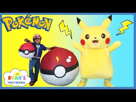 GIANT EGG POKEMON GO Surprise Toys Opening Huge PokeBall Egg Catch Pikachu In Real Life ToysReview