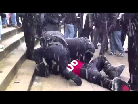 Cincinnati Bearcat mascot throws snowballs and is arrested 16x9