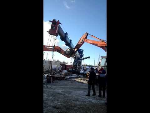 50ти тонный кран упал!