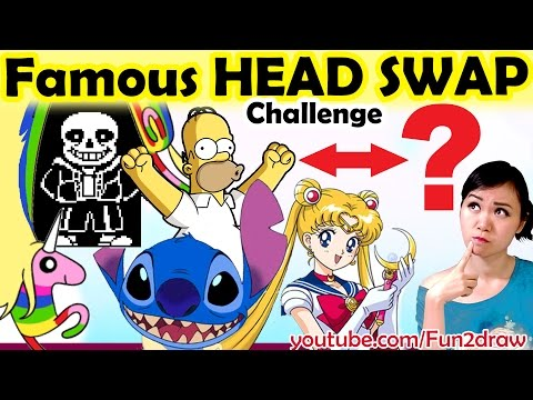 Drawing Famous Characters HEAD SWAP - Challenge Art Video