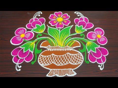 Simple colour kolam for margazhi - flower pongal rangoli with 9x4 dots - sankranthi muggulu thumbnail
