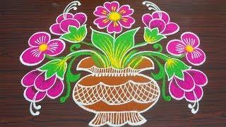 Simple colour kolam for margazhi - flower pongal rangoli with 9x4 dots - sankranthi muggulu