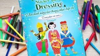 Đồ chơi dán hình trang điểm váy đầm búp bê -Tập 9 trang phục các nước P1 Sticker dolly (Chim Xinh)