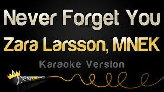 Zara Larsson MNEK Never Forget You Karaoke Version