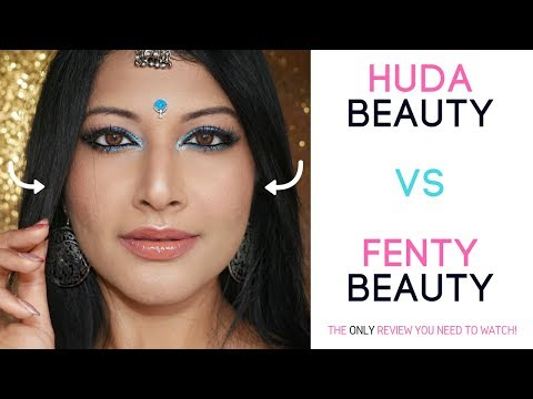 HUDA BEAUTY FAUX FILTER FOUNDATION 400G REVIEW VS FENTY + tutorial on medium/olive/ indian acne skin
