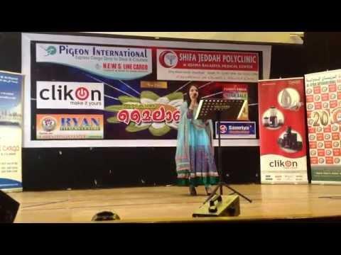 Nidhi Kharvi on stage in Jeddah singing Babli Badmaash Hai