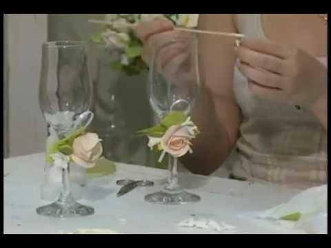 Свадебные бокалы своими руками уроки видео