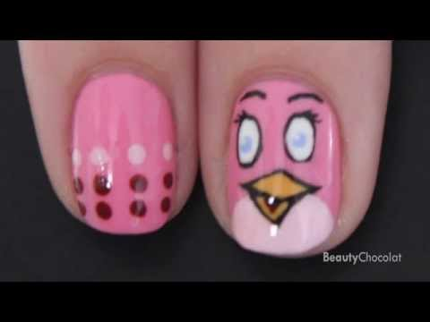 Pink Bird Nails - Meet the new member of the Angry Birds Nail Art Design