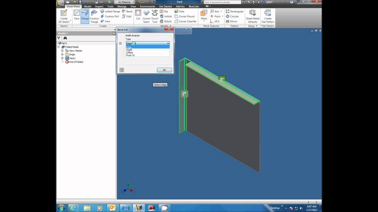 Autodesk Inventor 2012 Sheet Metal Flanges Youtube
