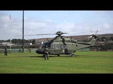 Agusta Westland 139 ambulance helicopter take-off at Carraroe