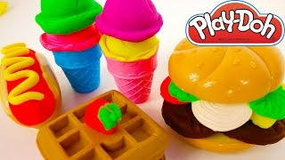 Play Doh Playset Food Kitchen Hamburger Ice Cream Waffles Breakfast
