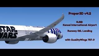 Prepar3D v4.2 | RJBB Kansai Intl. Airport 06L Landing | QualityWings 787