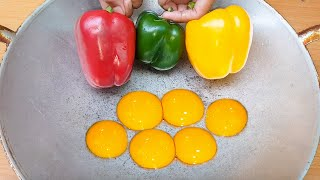 Cooking Bell Pepper with Eggs for dinner so yummy
