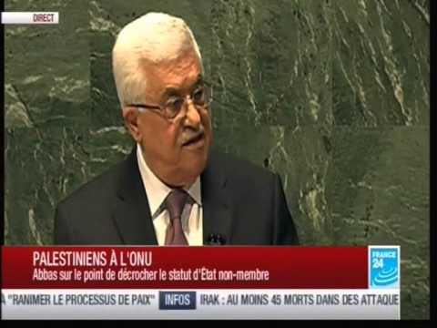 Entrée de la Palestine à l'ONU comme ETAT observateur Discours de Mahmoud Abbas