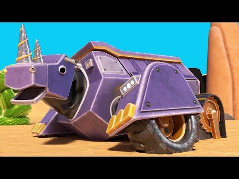 Animacars - Rinocerul basculanta e blocat in desert - desene pentru copii cu camioane si animale
