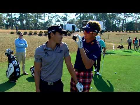 Camilo Villegas, Ian Poulter, Graeme McDowell, and Tom Watson have fun on the 17th hole at TPC Sawgrass . The program airs weekly on Golf Channel, check loca...