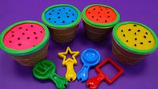 Learn 4 Colors Play Doh in Ice Cream Cups and Dinosaur Molds |Pj Masks Toys ,Kinder Joy egg